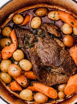 Classic pot roast in a dutch oven.