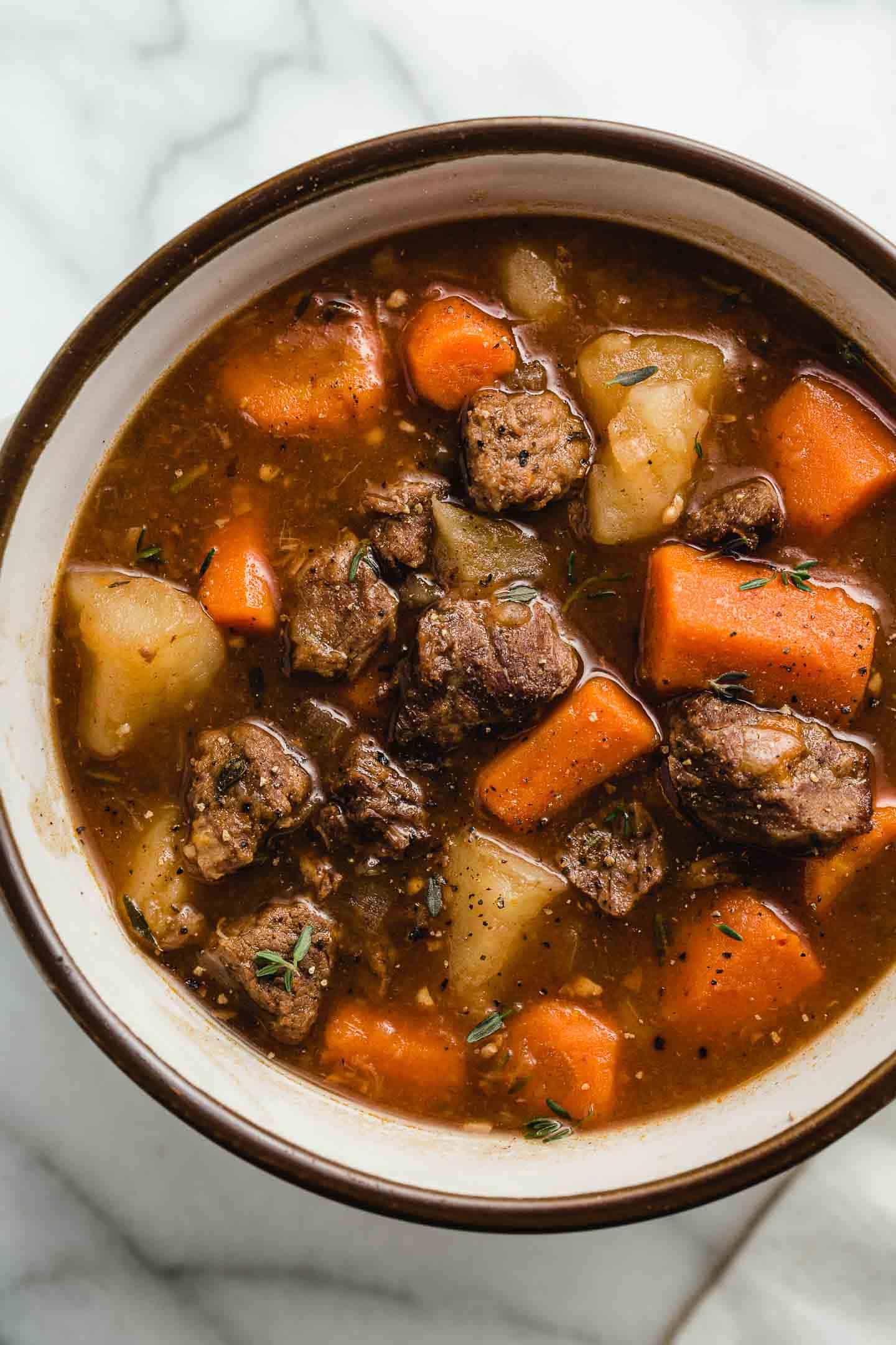 Top view of a bowl of Instant Pot beef stew.