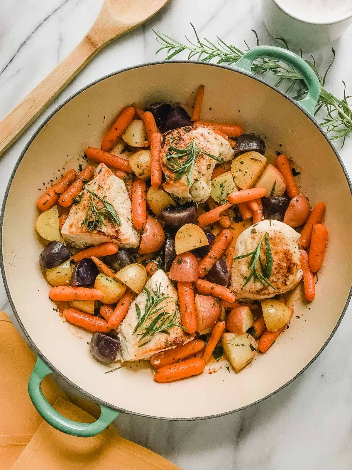 Rosemary chicken with potatoes and carrots.