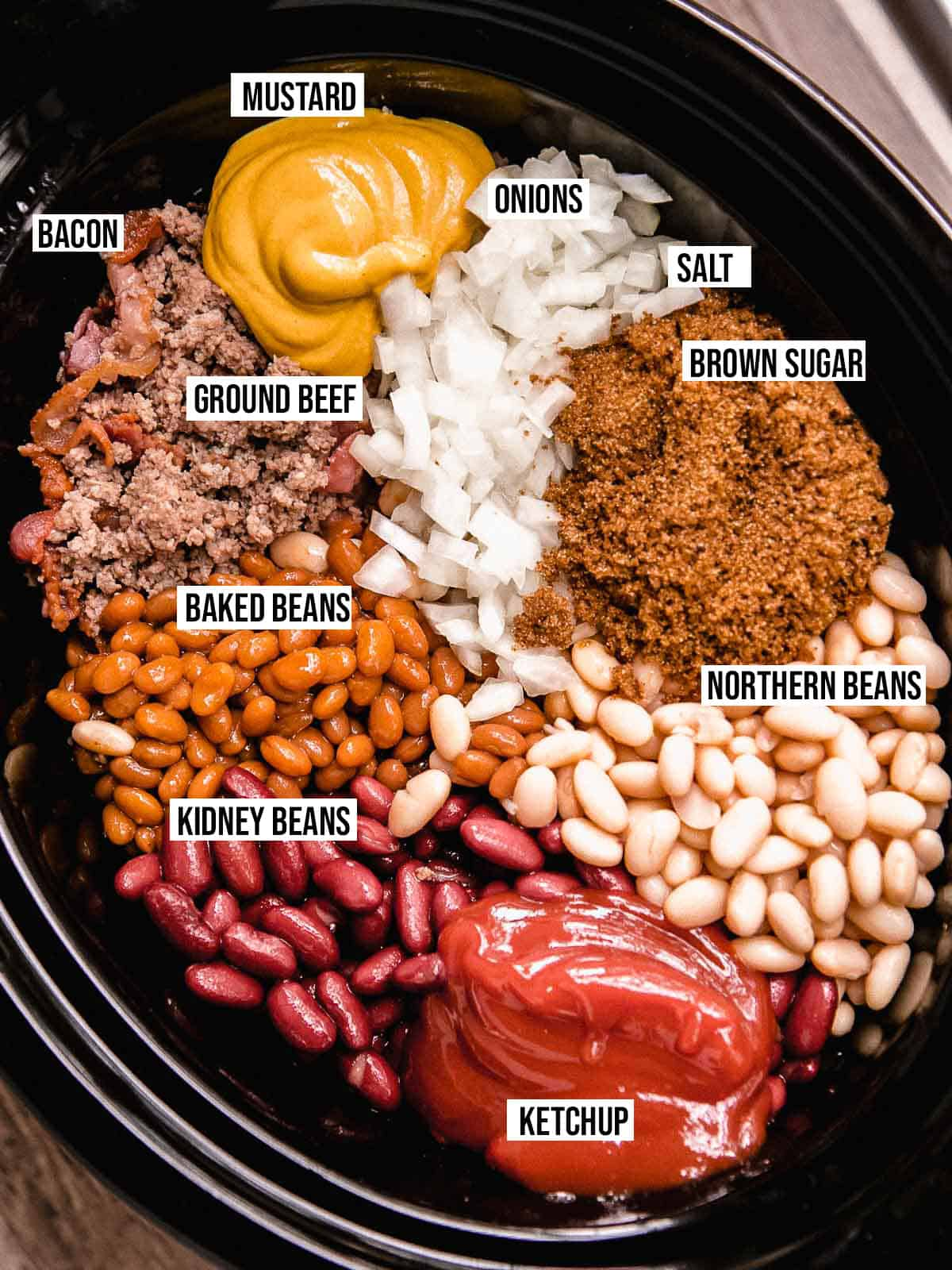 A photo of the ingredients for slow cooker calico beans.