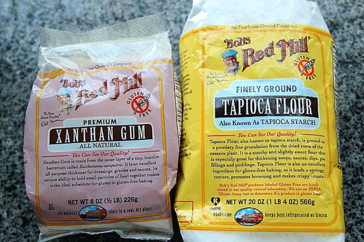 A photo of Xanthan gum and tapioca flour.