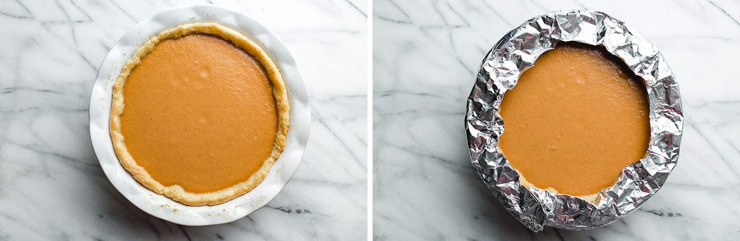 An unbaked pie with a pie shield.