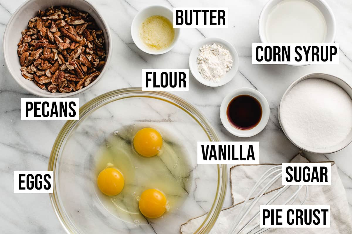 Pecan pie ingredients on a table.