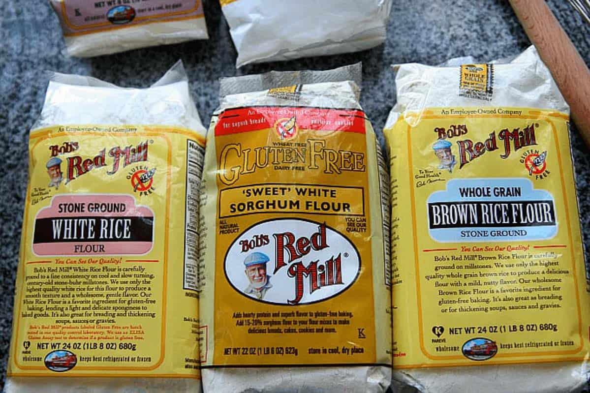 A photo of white rice sorghum flour brown rice flour bags.