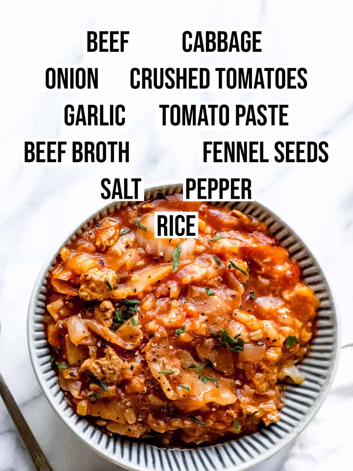 A picture with a list of ingredients needed to make cabbage roll soup.