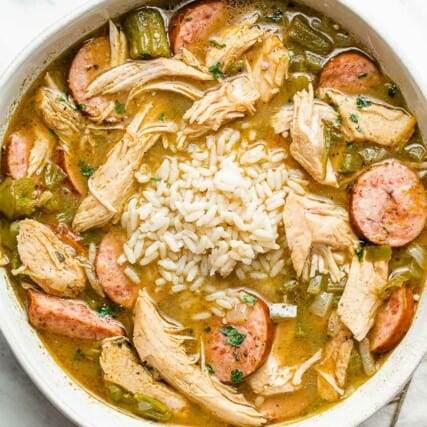 A closeup photo of turkey gumbo in a bowl.